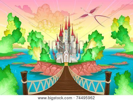 Fantasy landscape with castle. Somewhere inside me. Vector illustration