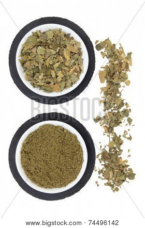 Ginkgo biloba herb leaf and powder in porcelain bowls on grey slate and loose over white background.