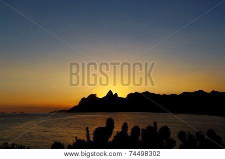 Background Sunset Mountain Cactus, Rio De Janeiro