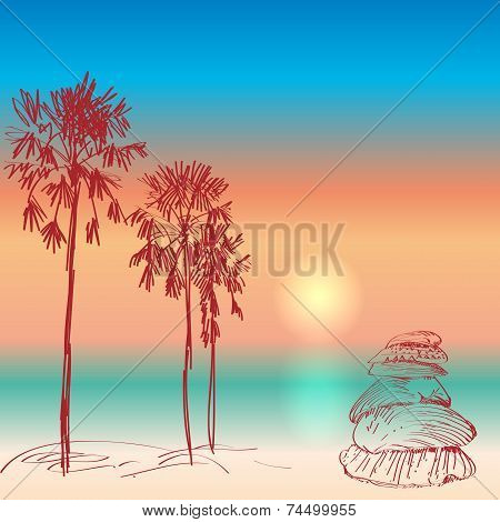 Seascape With Palm Trees And Seashells Sunset On The Beach. Vector