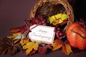 picture of cornucopia  - Happy Thanksgiving cornucopia wicker basket with autumn leaves pumpkin and greeting tag on candlelit background - JPG