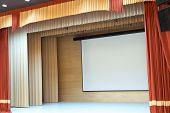 picture of cinema auditorium  - Image of cinema auditorium with blank screen - JPG