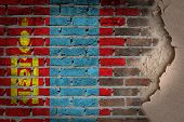 image of mongol  - Dark brick wall texture with plaster  - JPG