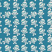 image of skull cross bones  - Blue seamless background - JPG