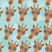 stock photo of cute animal face  - Giraffe Seamless pattern with funny cute animal face on a blue background - JPG