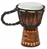 stock photo of bongo  - Wooden and decorated African Djembe  - JPG