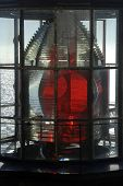 pic of mear  - Closeup view of the light of the Cape Meares Lighthouse showing the Fresnel lens - JPG