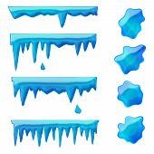 foto of icicle  - vector set of isolated blue icicles and frozen puddles - JPG