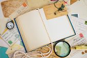 foto of vintage antique book  - open empty old book with  finding glass - JPG