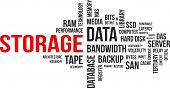 picture of latency  - A word cloud of storage related items - JPG