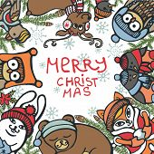 picture of new years baby  - Funny Christmas greeting card with  cute cartoon animals - JPG