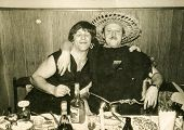 image of fancy-dress  - Vintage photo of two brothers in costumes during a fancy dress party - JPG