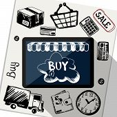 foto of payment methods  - Digital tablet surrounded symbols of delivery - JPG