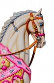 stock photo of carousel horse  - Horse in a carousel isolated over a white background - JPG