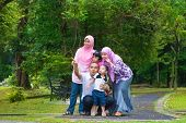 image of southeast asian  - Happy Southeast Asian family outdoor lifestyle at nature green park - JPG