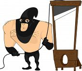 stock photo of beheaded  - Illustration Featuring a Bulky Executioner - JPG