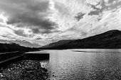 stock photo of galway  - Monochrome Kylemore Lough in Connemara in County Galway Ireland - JPG