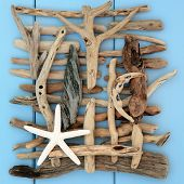 pic of driftwood  - Starfish shell and driftwood abstract on a wooden blue background - JPG