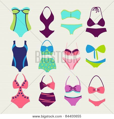 Vector Set Of Swim Wears - Illustration