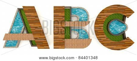 3D English Alphabet Fonts In Architect Texture Style (a B C Set)