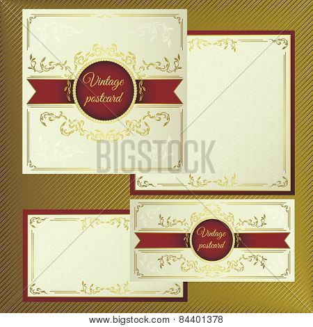 Greeting and invitation cards. Cover with vintage gold pattern on a light background, and with the i