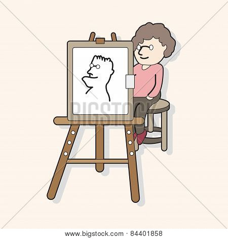 Street Performer Painter Theme Elements Vector,eps