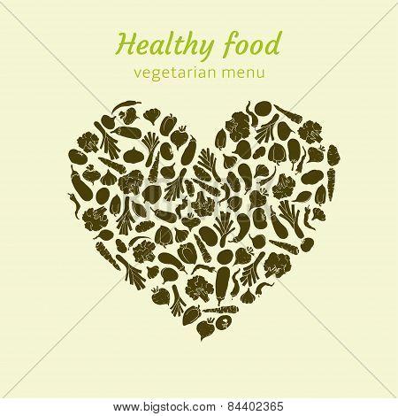 Healthy heart of veggies