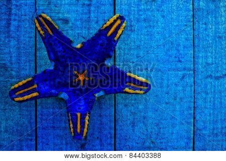 Starfish Shape On Blue Wooden Boards