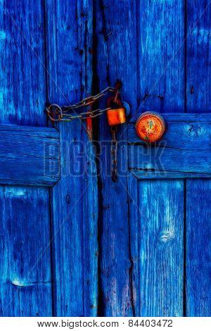 Padlocked Blue Wooden Door
