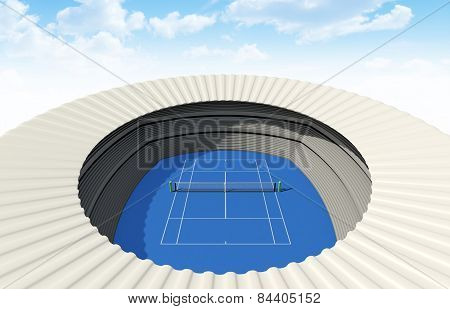 Hard Tennis Court In The Day