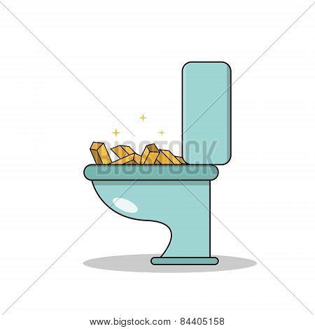 Isolated cartoon treasure gold on toilet