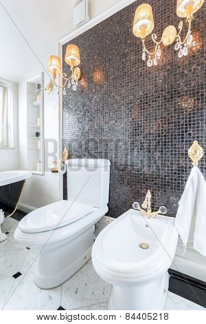 Crystal Chandeliers In Luxury Toilet