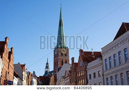 Old City Street And Church St. Jakobi, Lübeck, Germany