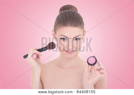 Portrait Of Young Beautiful Woman With Make Up Brush And Rouge Or Powder Over Pink