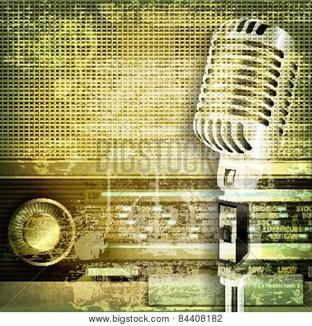 Abstract Sound Grunge Background With Microphone And Retro Radio
