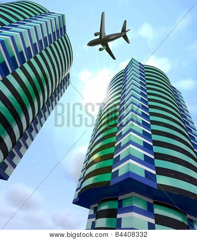 Modern City Buildings And A Plane In The Sky.
