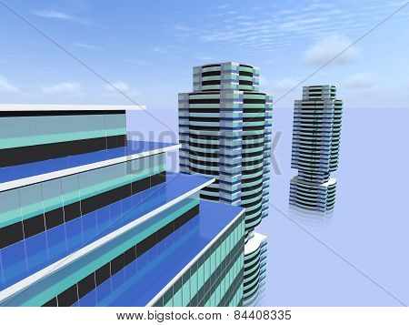 Modern City Buildings And The Sky.
