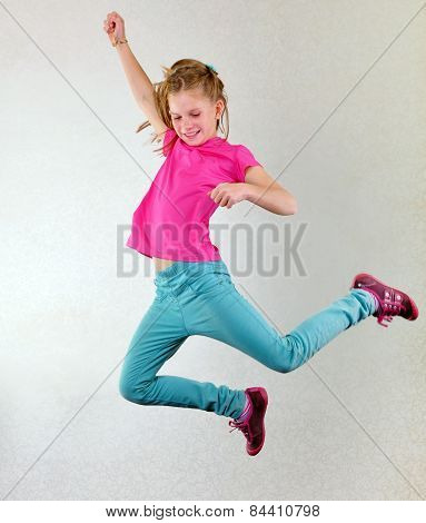Pretty Girl  Jumping High, Dancing And Running