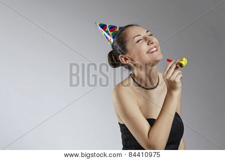 Laughing woman having fun