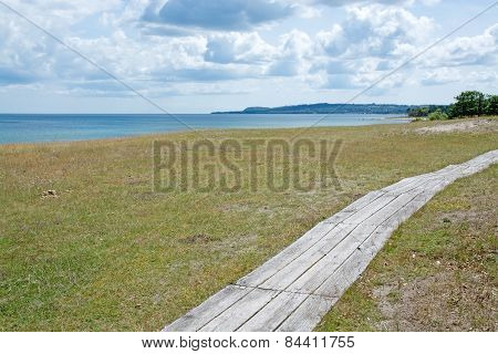 Boardwalk along the heath by the coast