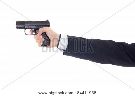 Male Hand In Business Suit With Gun Isolated On White