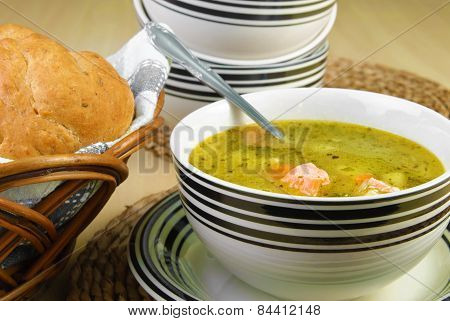 Fish Soup With Salmon And Vegetables Served In A Bowl