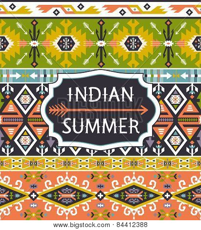 Bright colorful decorative geometric pattern in tribal american style