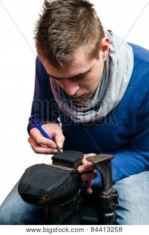 Shoemaker Making A New Drafts Isolated On White Background