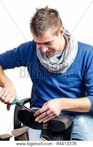 Shoemaker Smiling Isolated On White Background