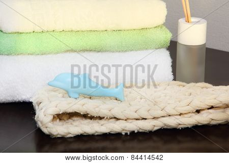 Towel Stack And Bast In The Shower.