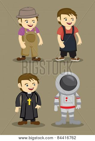 Farmer Kitchen Helper Priest Astronaut Vector Illustration