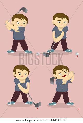 Cartoon Boy Plays Golf Vector Illustration