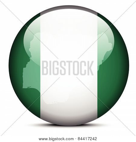 Map On Flag Button Of Federal Republic  Nigeria