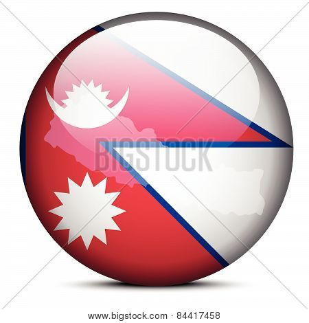 Map On Flag Button Of Federal Democratic Republic  Nepal